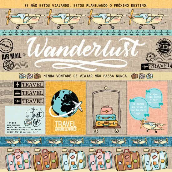 Papel Scrapbook Viagem Wanderlust - Scrap Goodies