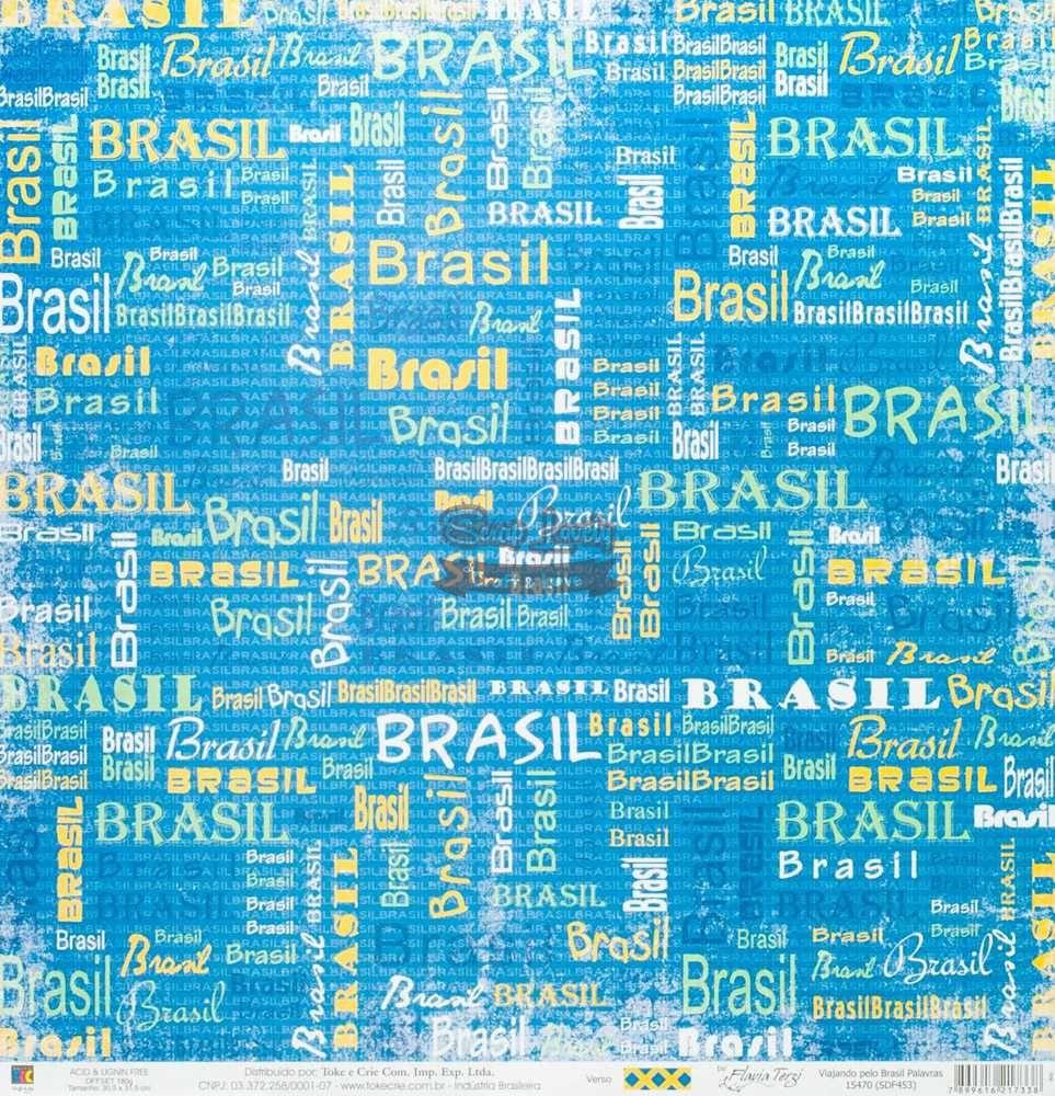 Papel Scrapbook Viajando Pelo Brasil Palavras - Toke e Crie