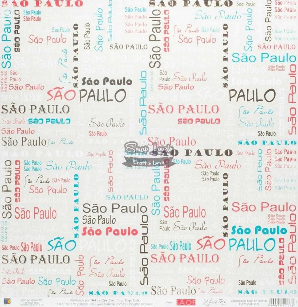 Papel Scrapbook Viajando Pelo Brasil SP Palavras - Toke e Crie
