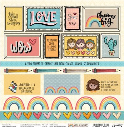 Papel Scrapbook Vida de Garota Arco-íris e Molduras - Scrap Goodies