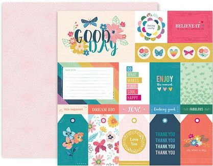 Papel Scrapbook Whimsical Paper #1 - Pink Paislee