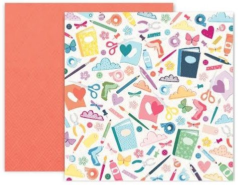 Papel Scrapbook Whimsical Paper #6 - Pink Paislee