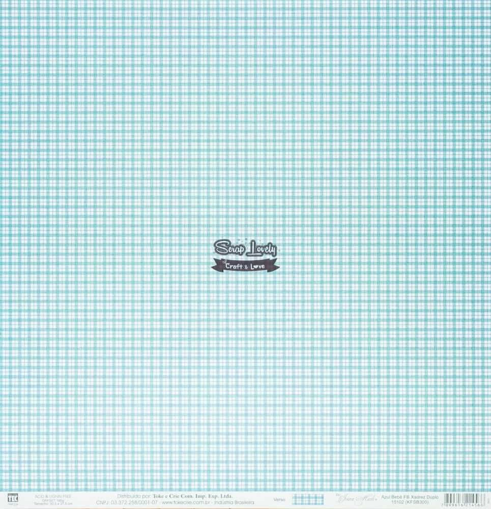 Papel Scrapbook Xadrez Azul Bebê - Toke e Crie