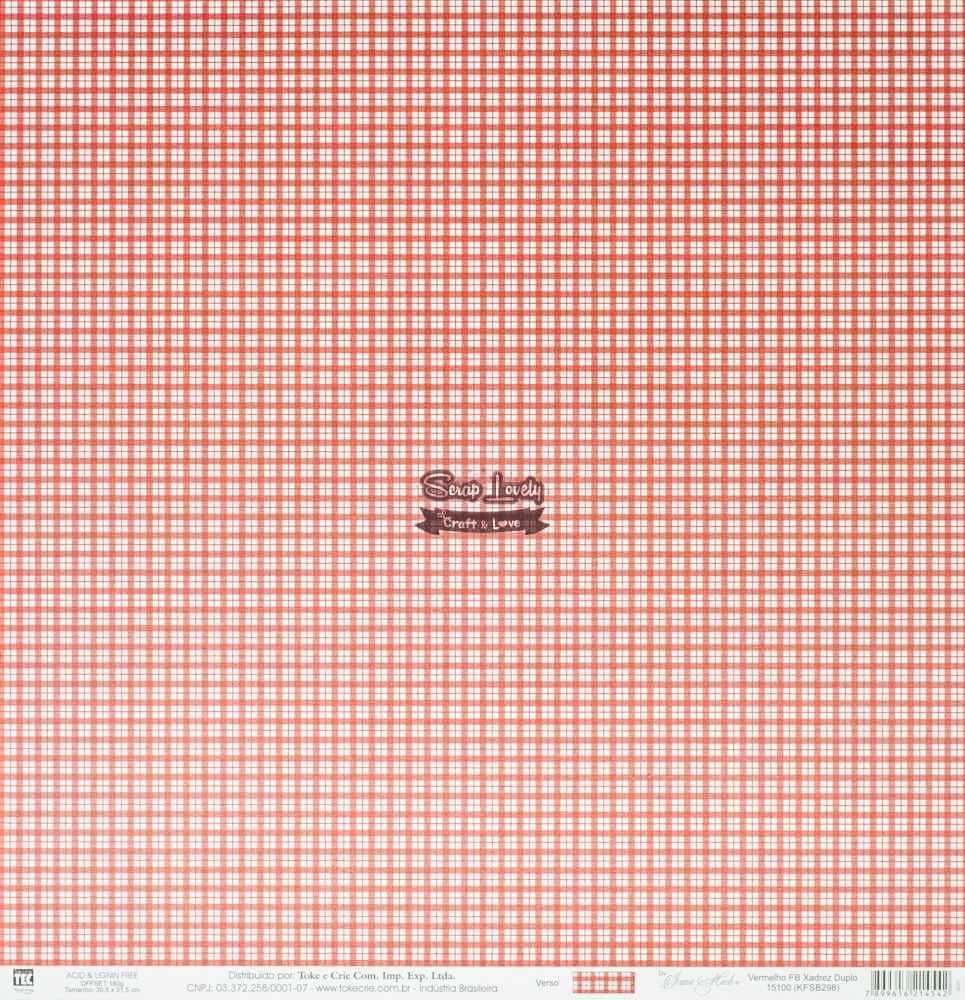 Papel Scrapbook Xadrez Vermelho - Toke e Crie
