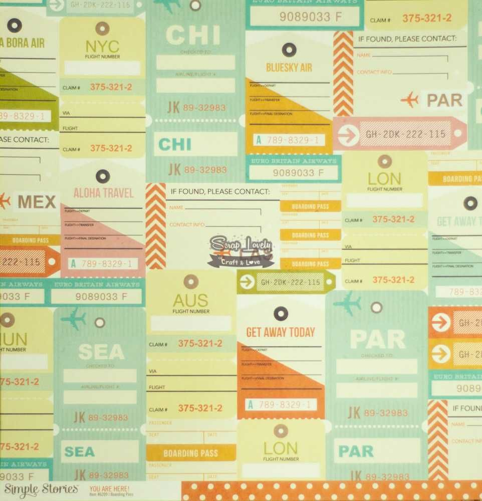 Papel Scrapbook You Are Here! Boarding Pass - Simple Stories