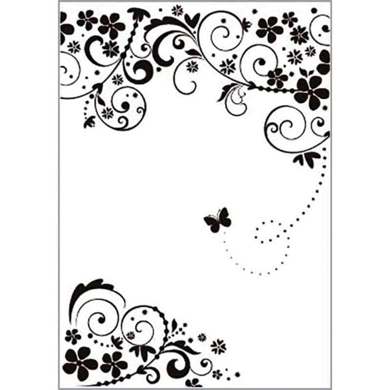 Placa de Emboss Borboleta na Videira 30cm x 21cm (A4) 21813 - Toke e Crie