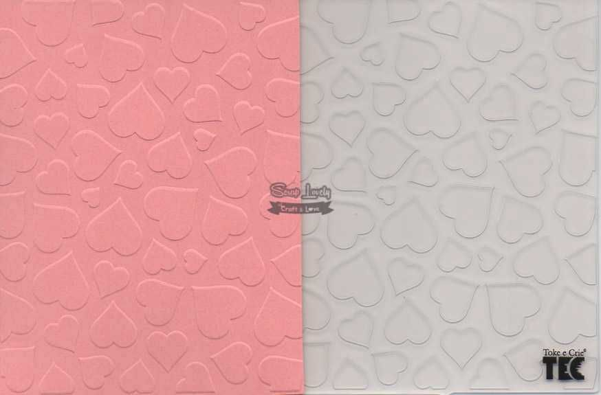Placa de Emboss Coração 10,9cm x 14,2cm 20917 (PPR003) - Toke e Crie