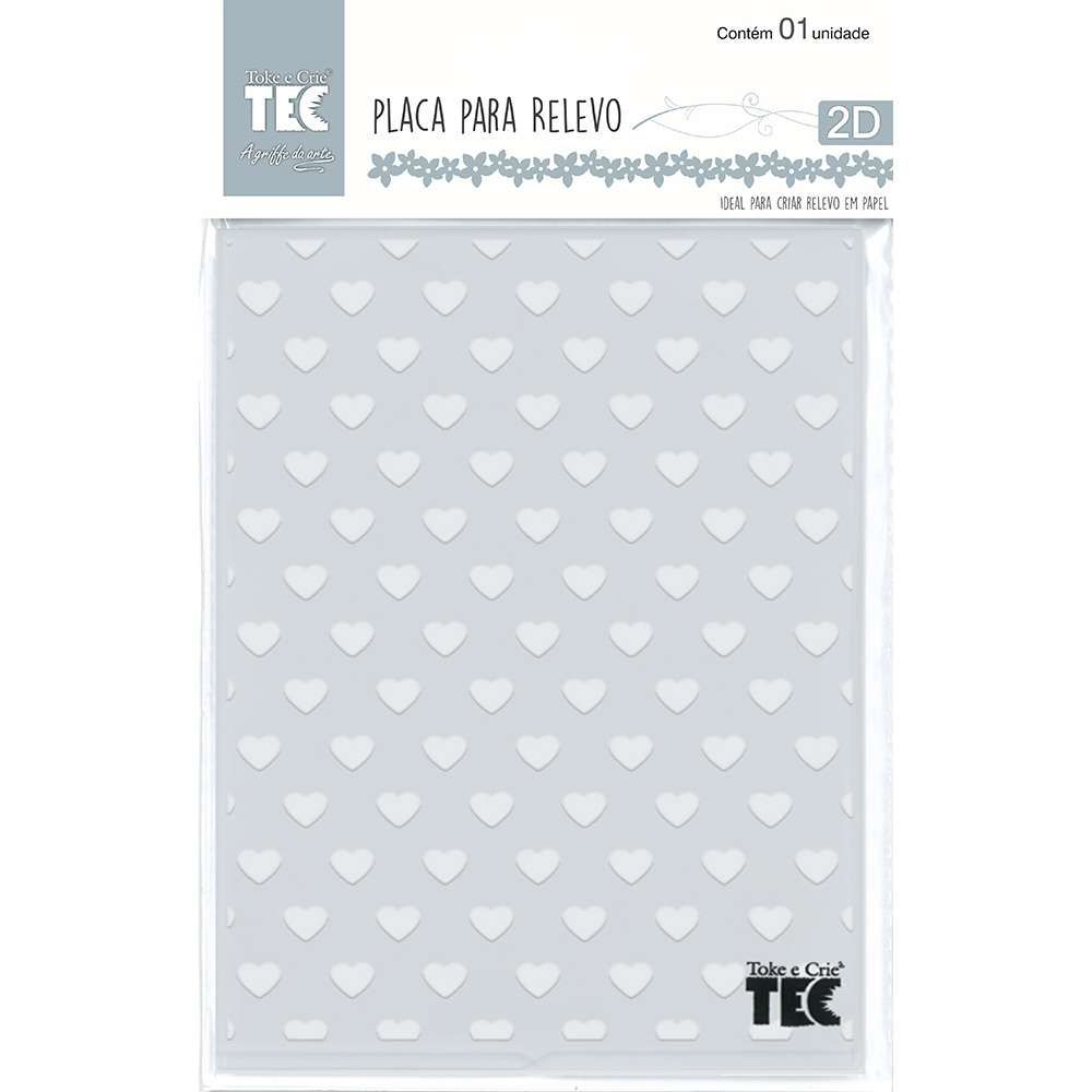 Placa de Emboss Corações 12,8cm x 18cm 21457 (PPR020) - Toke e Crie