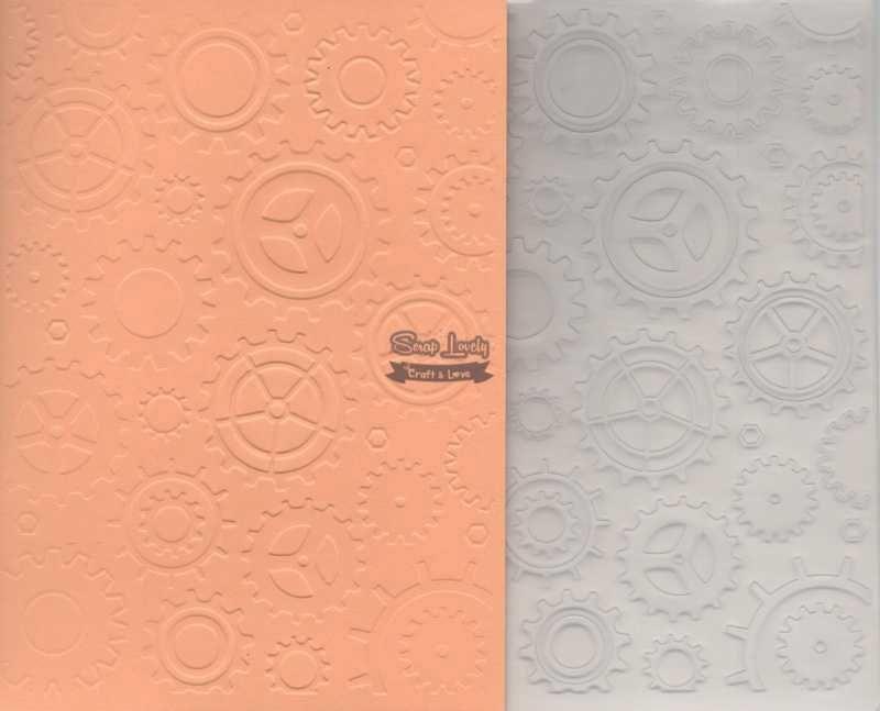 Placa de Emboss Engrenagens 12,7cm x 17,7cm PE002-1 - Art e Montagem