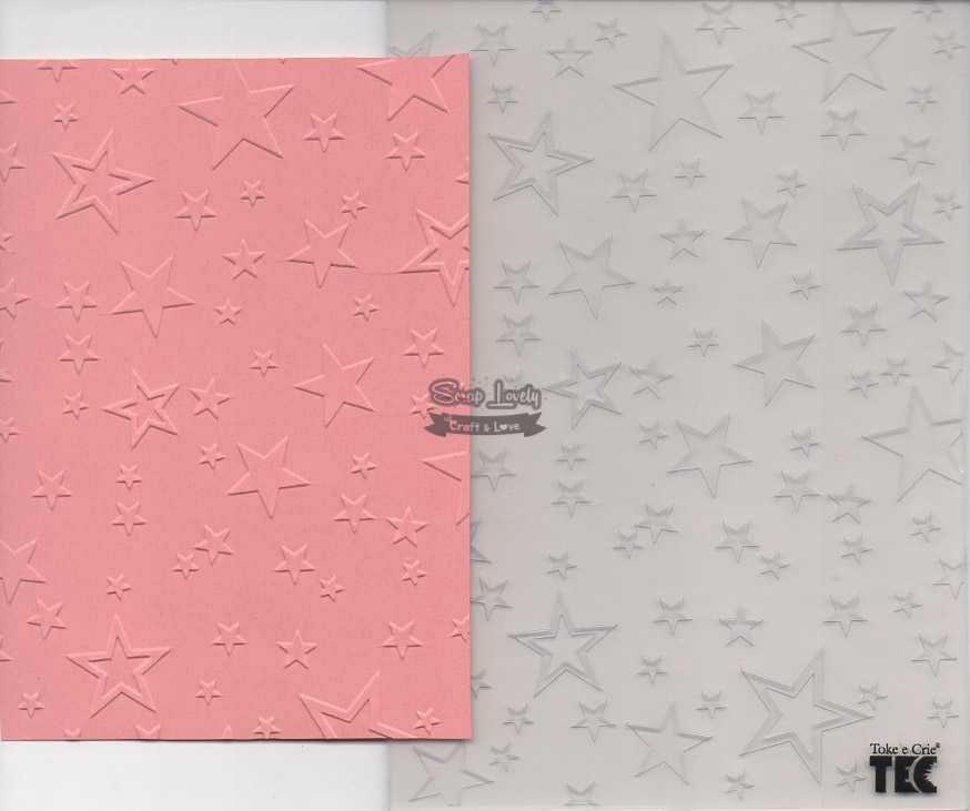 Placa de Emboss Estrelas 12,8cm x 18cm 20929 (PPR015) - Toke e Crie