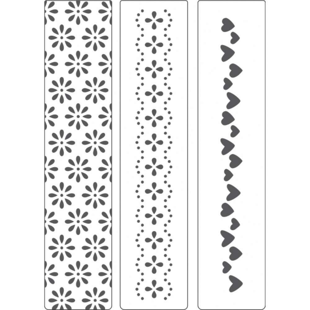 Placa de Emboss Kit Corações e Flores 3,2cm x 14,5cm 21804 (KPR002) - Toke e Crie