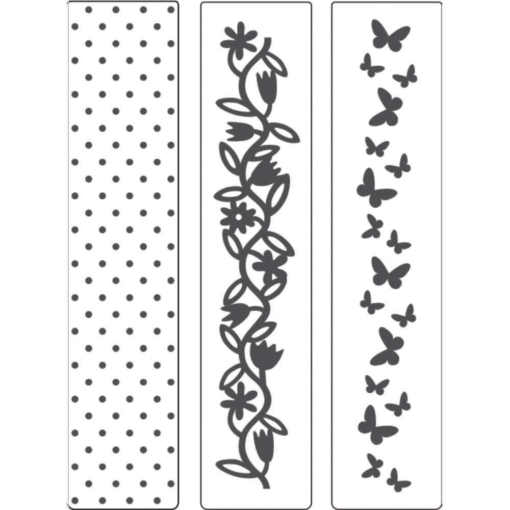 Placa de Emboss Kit Poá, Borboleta e Flores 3,2cm x 14,5cm 21803 (KPR001) - Toke e Crie