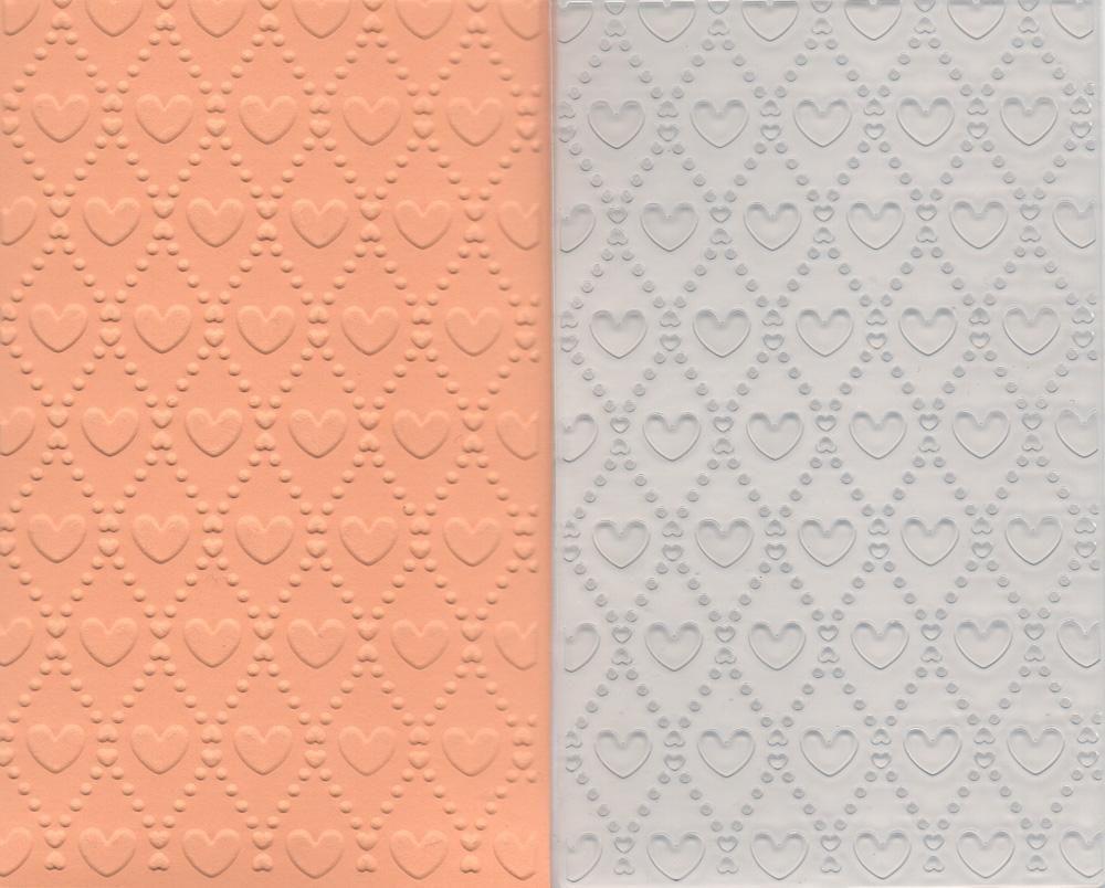 Placa de Emboss Mini Corações 7,5cm x 12,5cm 21799 (PPR023) - Toke e Crie