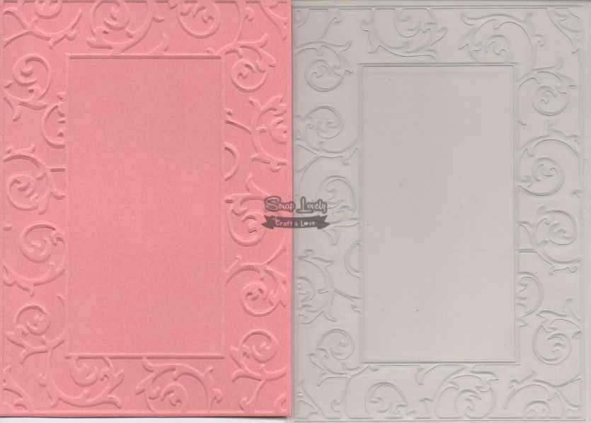 Placa de Emboss Moldura com Arabesco 10,6cm x 15cm (A6) PE001-20 - Art e Montagem