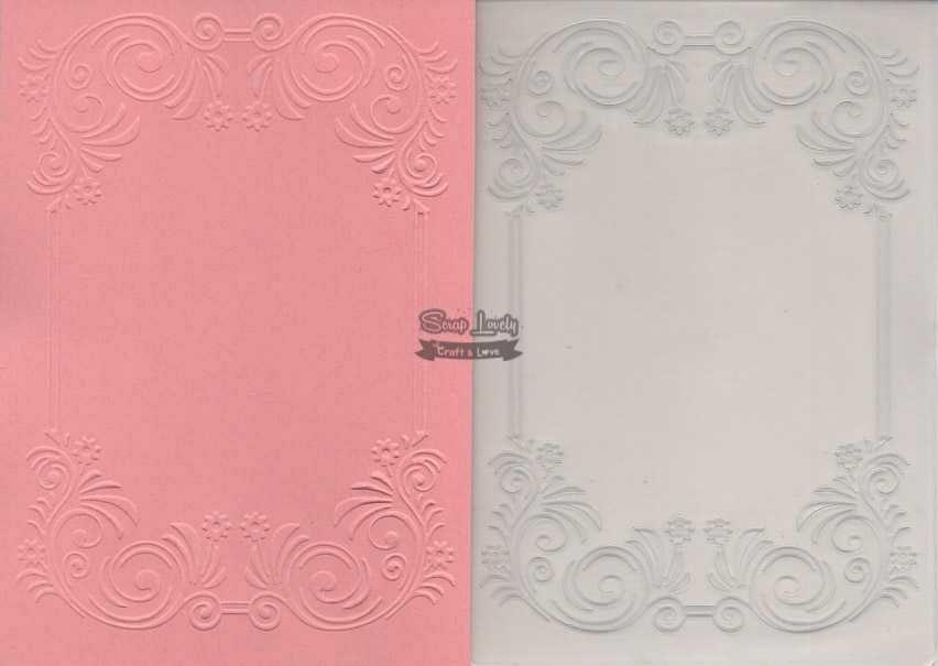 Placa de Emboss Moldura com Flores 10,6cm x 15cm (A6) PE001-30 - Art e Montagem