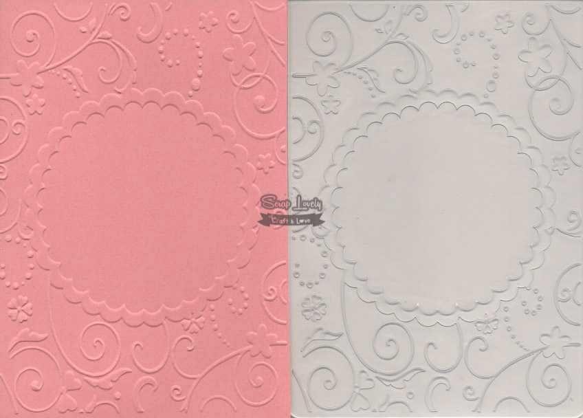 Placa de Emboss Moldura Escalope com Flores 10,6cm x 15cm (A6) PE001-31 - Art e Montagem