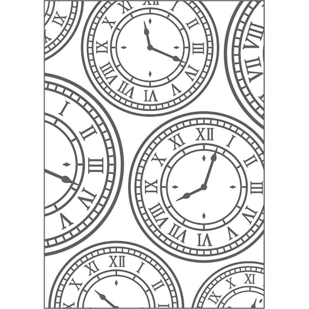 Placa de Emboss Relógio Vintage l 12,8cm x 18cm 20927 (PPR013) - Toke e Crie