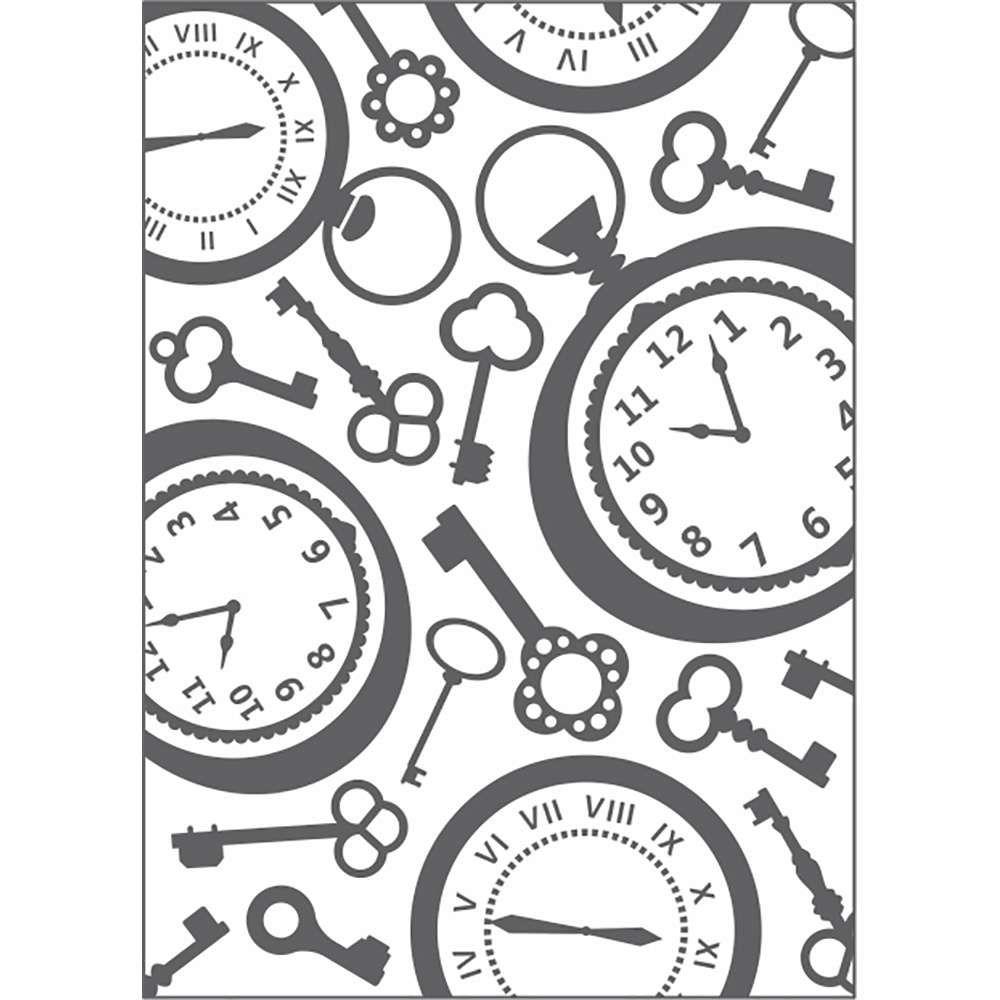 Placa de Emboss Relógio Vintage ll 12,8cm x 18cm 20928 (PPR014) - Toke e Crie