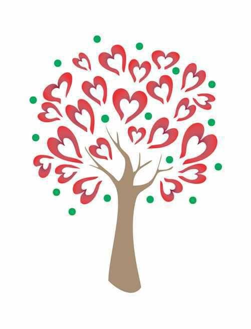 Stencil Árvore Coração ST-725 - Arte Fácil