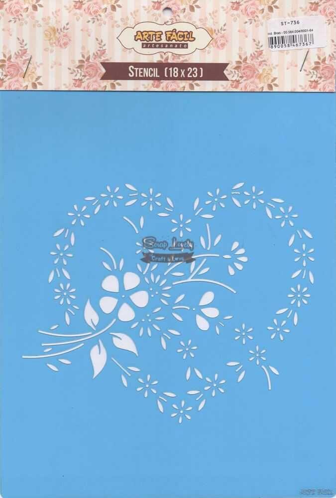 Stencil Coração com Flores ST-736 - Arte Fácil