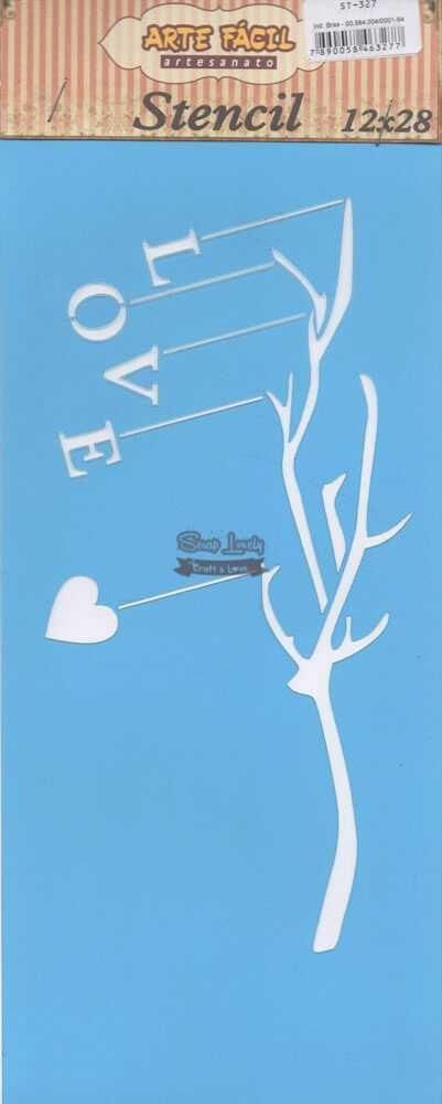Stencil Galho com Love ST-327 - Arte Fácil