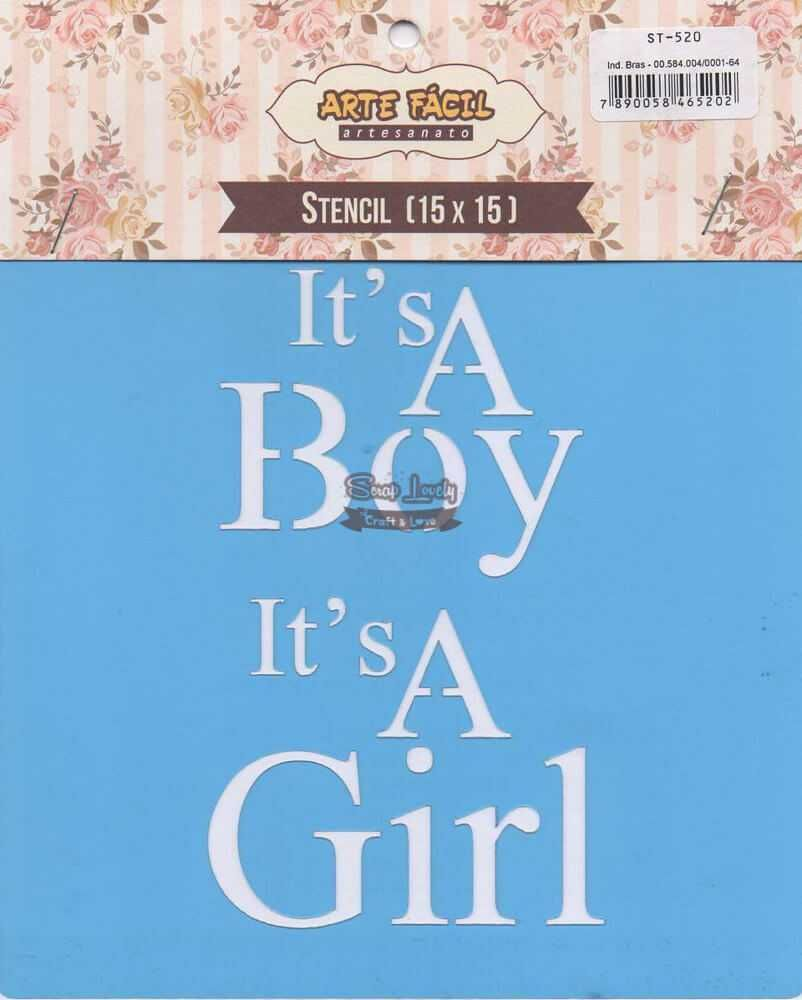 Stencil It's a Boy It's a Girl ST-520 - Arte Fácil