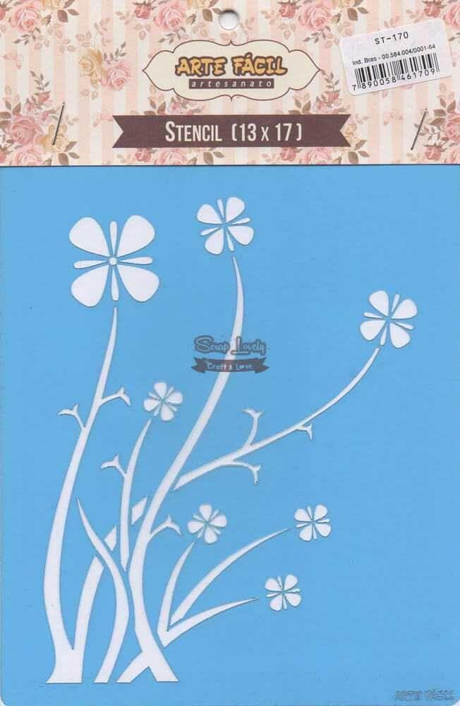 Stencil Ramos e Flores ST-170 - Arte Fácil