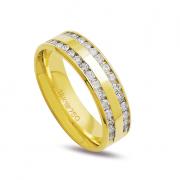 Aliança ouro 18k 5mm anatômica 30 diamantes de 2 pontos