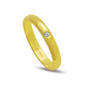 Aliança ouro 18k 3,2mm reta 1 diamante de 2 pontos