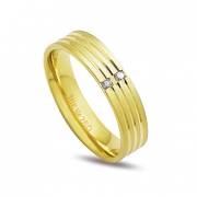 Aliança ouro 18k 5mm anatômica 2 diamantes de 2 pontos