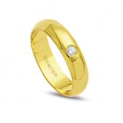 Aliança ouro 18k 5mm reta 1 diamante de 4 pontos