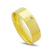 Aliança ouro 18k 6mm anatômica 1 diamante de 2 pontos
