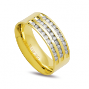 Aliança ouro 18k 7,5mm anatômica 30 diamantes de 2 pontos