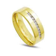 Aliança ouro 18k 7mm anatômica 10 diamante de 2 pontos