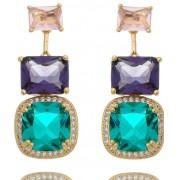 Brinco quartzo color + micro-zircônia