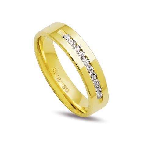 Aliança ouro 18k 5mm anatômica 10 diamantes de 2 pontos