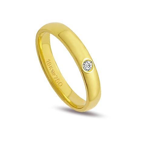 Aliança ouro 18k 3,5mm reta 1 diamante de 3 pontos