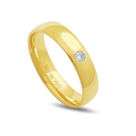 Aliança ouro 18k 4,5mm reta 1 diamante de 4 pontos