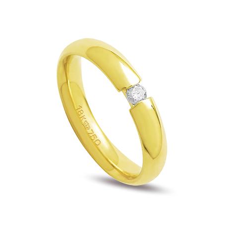 Aliança ouro 18k 4mm anatômica 1 diamante de 5 pontos