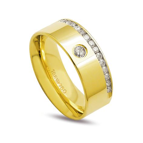Aliança ouro 18k 7,5mm anatômica 16 diamante de 2 pontos