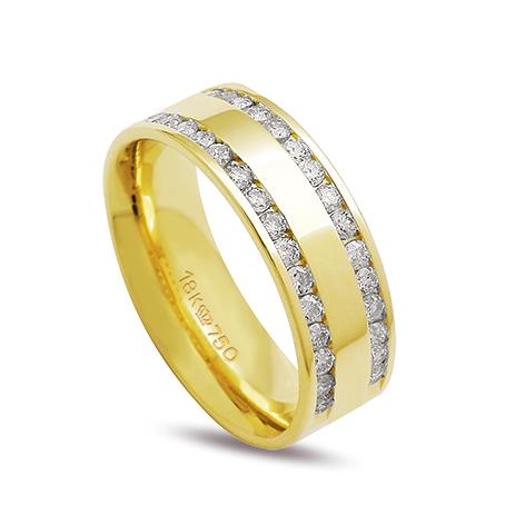 Aliança ouro 18k 7mm anatômica 30 diamantes de 2 pontos