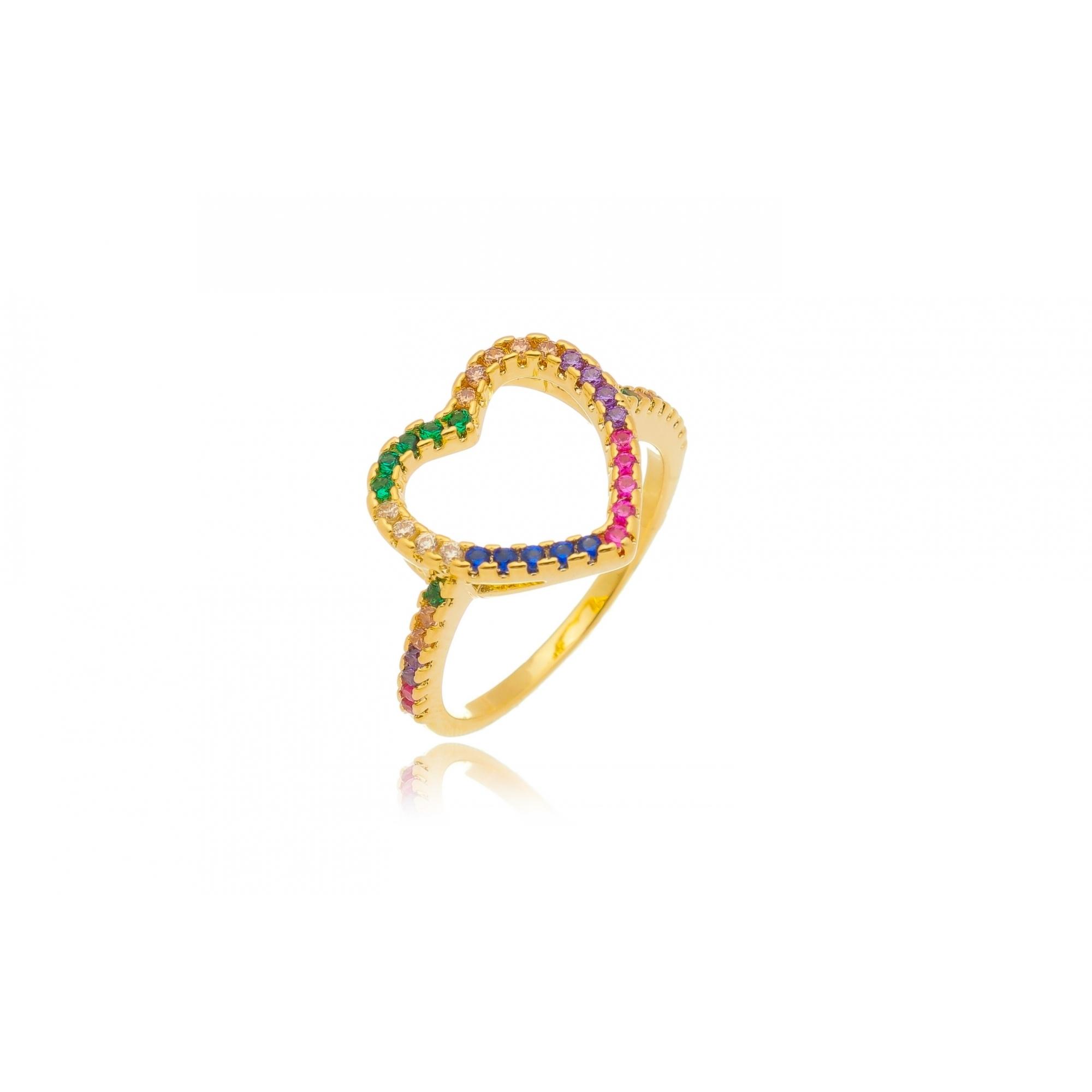 Anel coração 13mm vazado zircônia multicolor