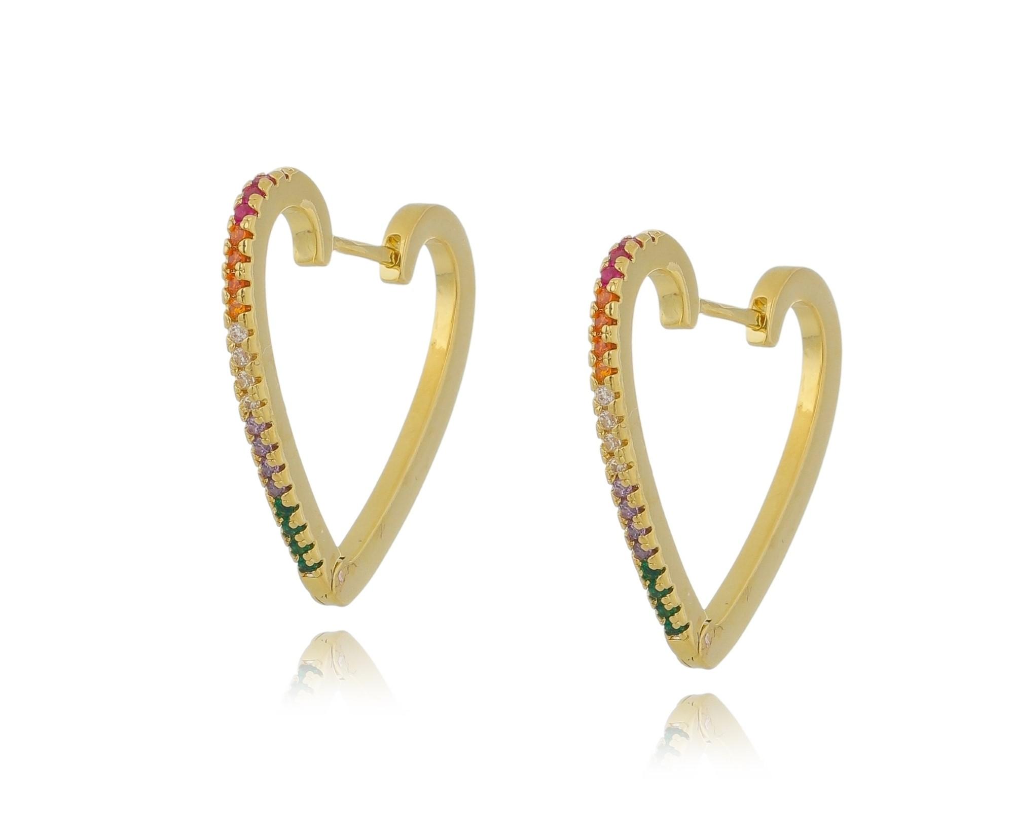 Argola click coração 25mm com zircônias coloridas