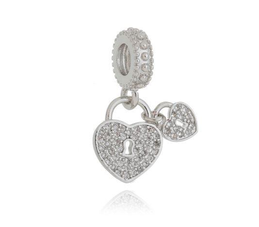 Berloque  coração cadeado micro-zirconia