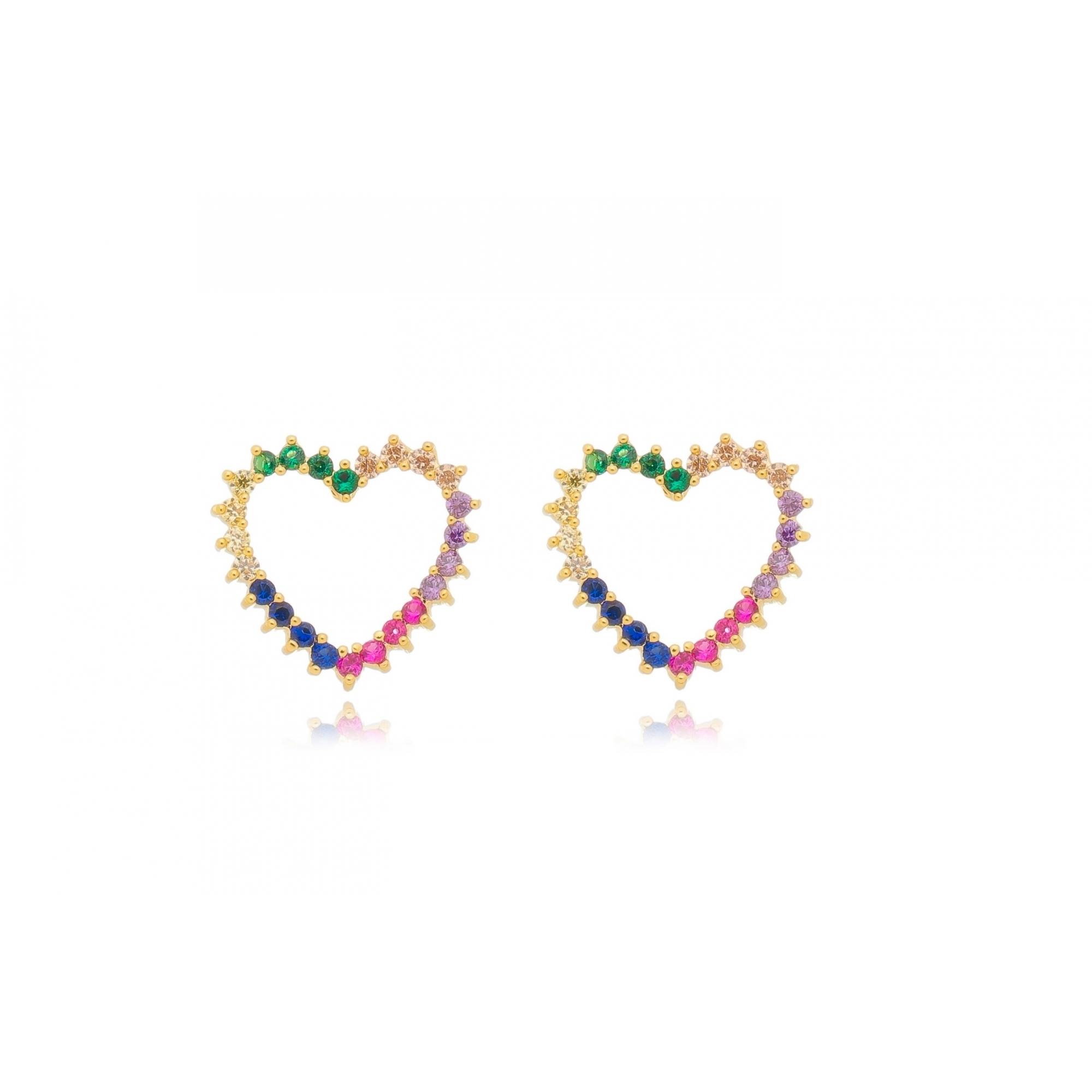 Brinco coração 11mm vazado zircônias color