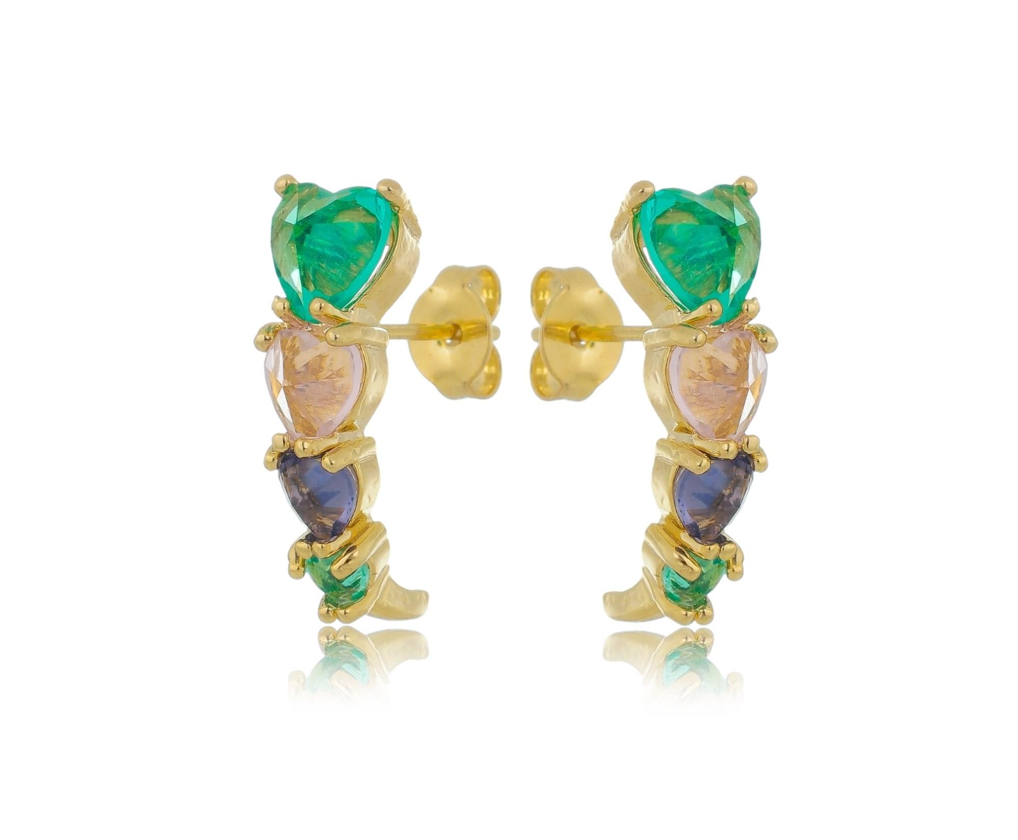 Brinco ear hook 4 corações com zircônias coloridas