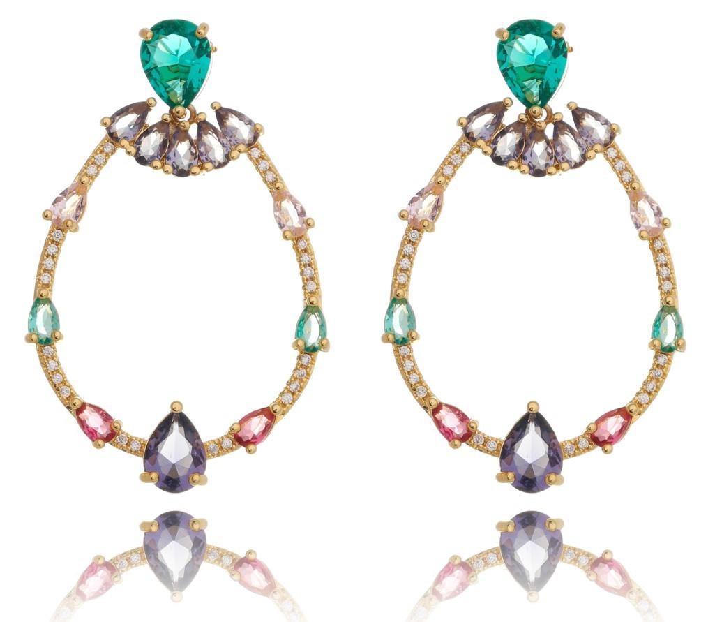 Brinco gota vazada + quartzo color