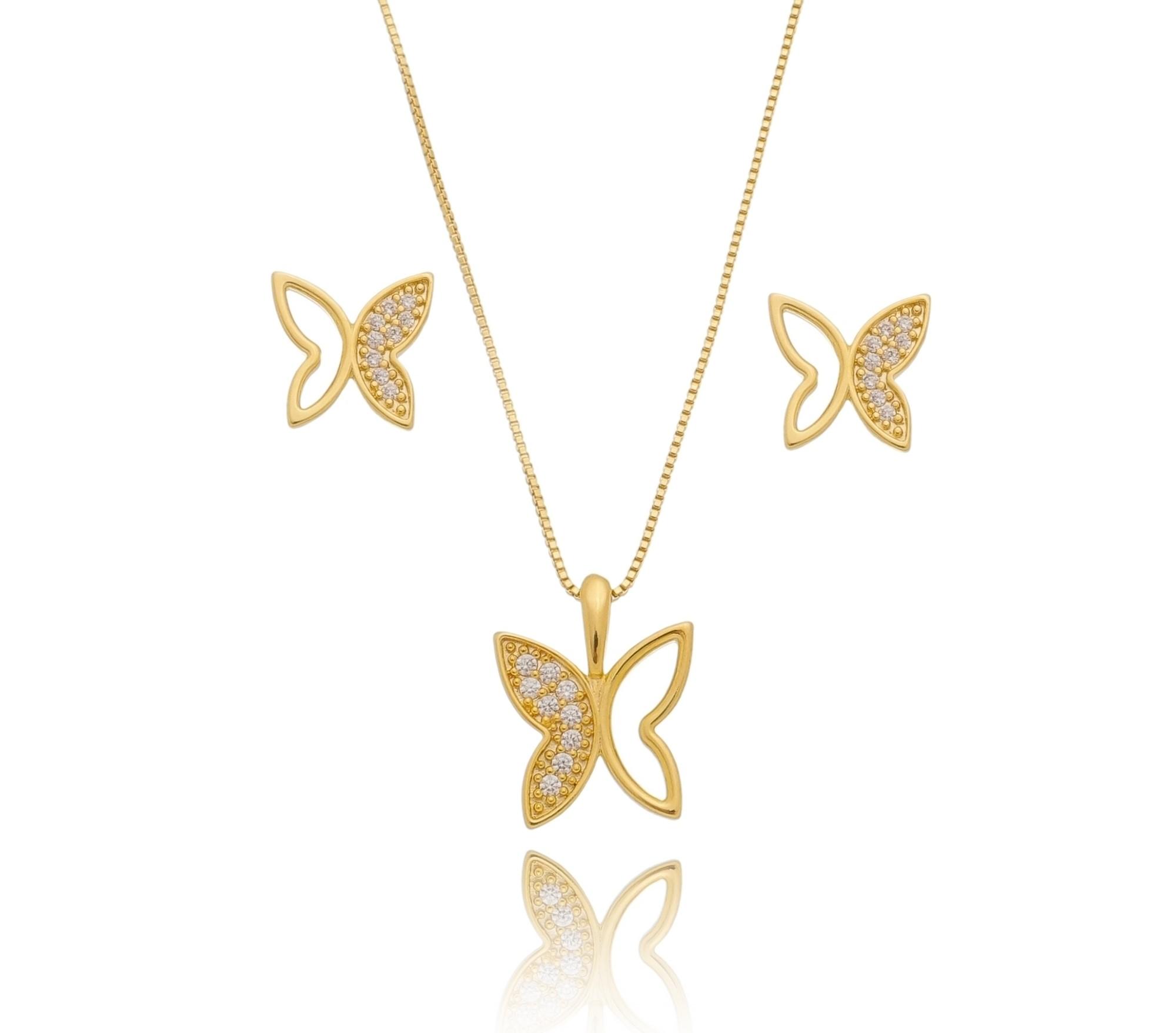 Conjunto borboleta 1 lado zircônia vazada
