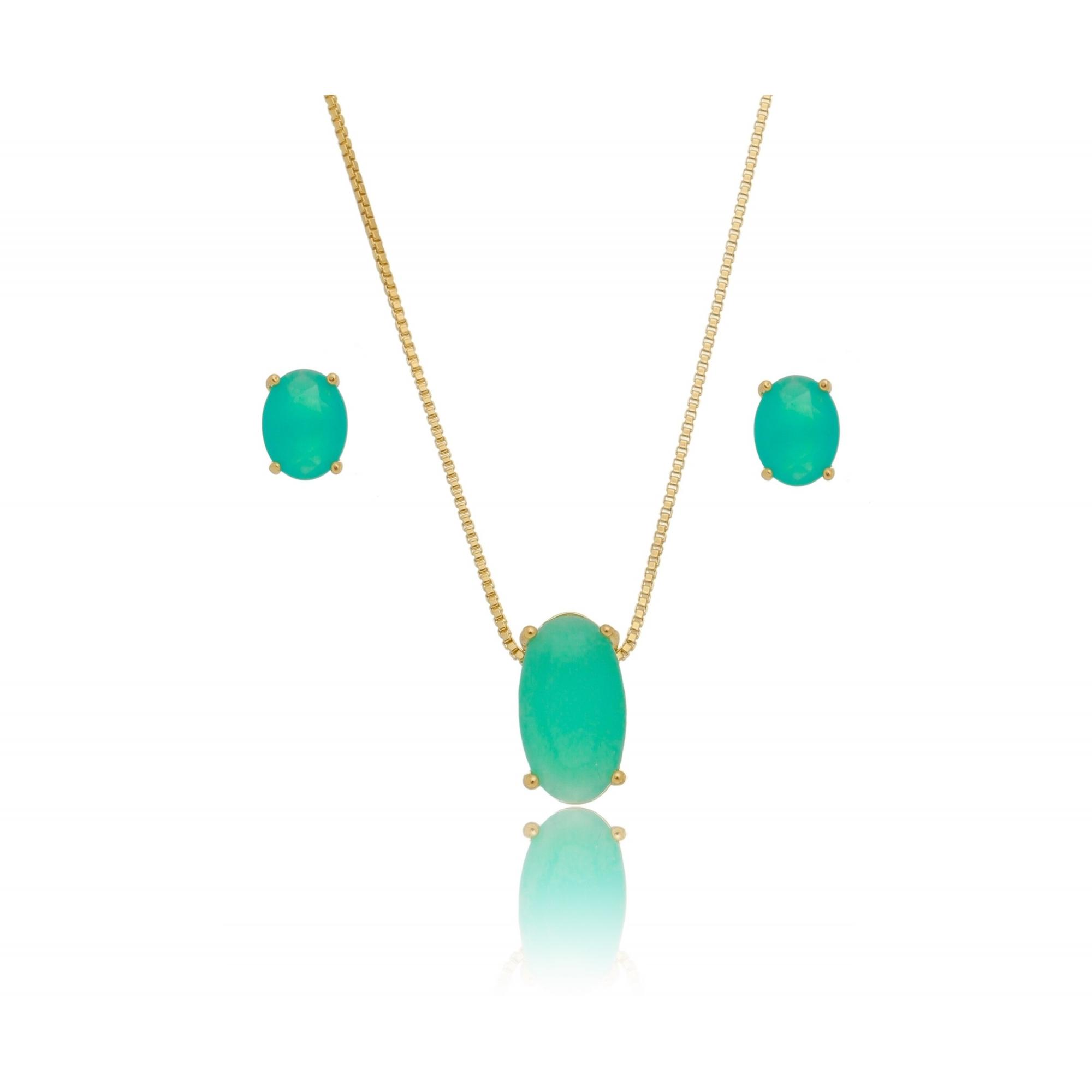Conjunto solitário oval 9mm quartzo verde