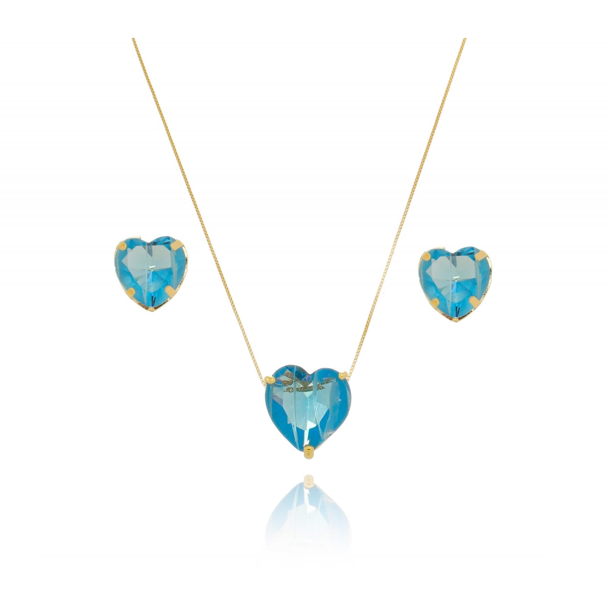 Conjunto colar e brinco coração quartzo 15/10mm